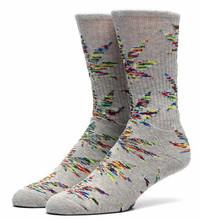 Huf Melange Plantlife Crew Socks - Grey Heather/Red