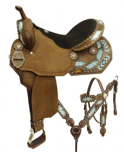 "16"" Economy style barrel saddle set with metallic painted feathers and beaded inlay."