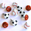 Sports Ball Collection Mixed Mini Ball Brads by Eyelet Outlet - Pkg. of 12