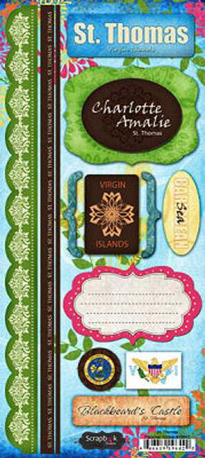 Tropical Collection St. Thomas Cardstock Sticker Sheet by Scrapbook Customs
