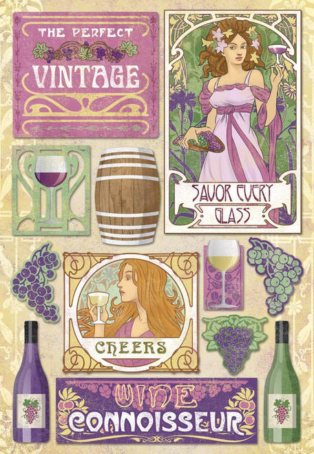 Wine Lover's Collection The Perfect Vintage Cardstock Sticker Sheet by Karen Foster Design