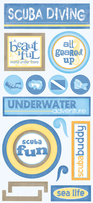 Tropical Collection Scuba Diving Stickers by Scrapbook Customs