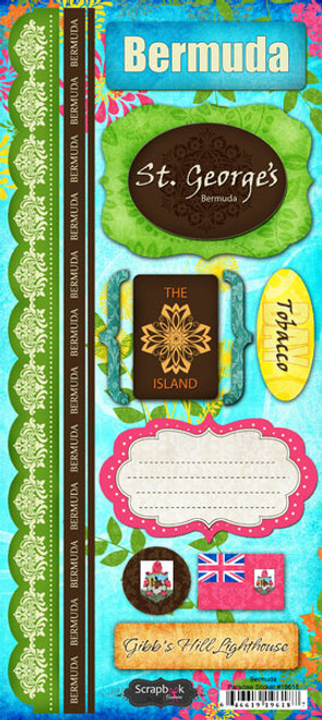 Paradise Collection Bermuda Cardstock Sticker Sheet by Scrapbook Customs