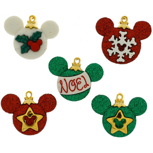 Disney Dress It Up Holiday Collection Mickey Mouse Ornaments Scrapbook Button Embellishments by Jesse James Buttons