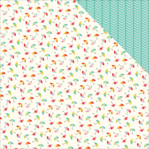 Sunny Days Ahead Collection Umbrellas Double-Sided 12 x 12 Scrapbook Paper by Echo Park