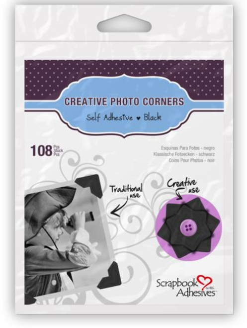 Creative Photo Corners Collection Black Self-Adhesive Photo Corners by Scrapbook Adhesives - 108 Pieces