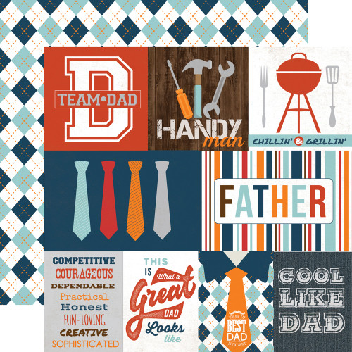 Team Dad Collection Journaling Cards 12 x 12 Double-Sided Scrapbook Paper by Echo Park Paper