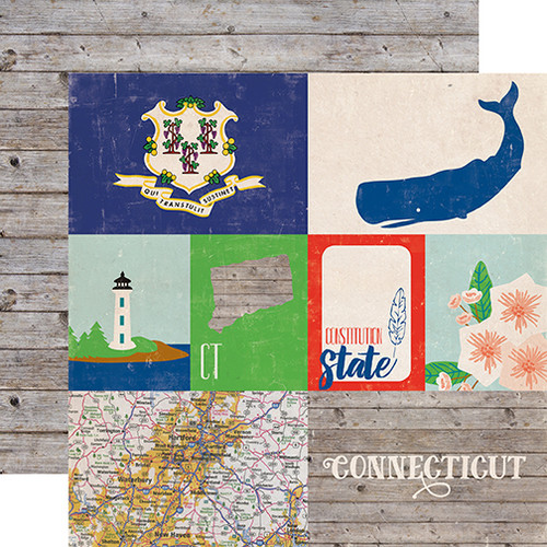 Stateside Collection Connecticut 12 x 12 Double-Sided Scrapbook Paper by Echo Park Paper
