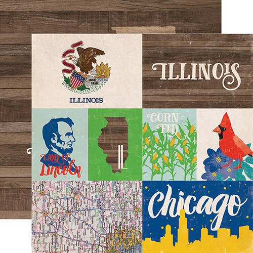 Stateside Collection Illinois 12 x 12 Double-Sided Scrapbook Paper by Echo Park Paper