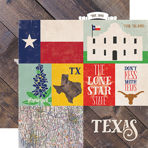 Stateside Collection Texas 12 x 12 Double-Sided Scrapbook Paper by Echo Park Paper