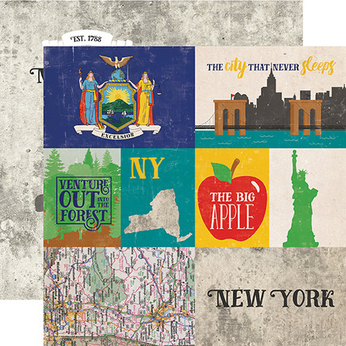 Stateside Collection New York  12 x 12 Double-Sided Scrapbook Paper by Echo Park Paper