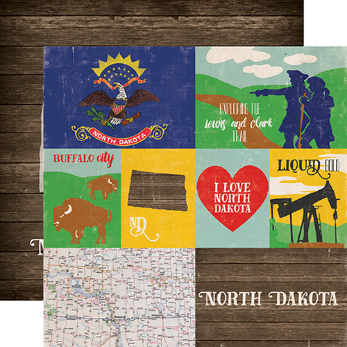 Stateside Collection North Dakota 12 x 12 Double-Sided Scrapbook Paper by Echo Park Paper