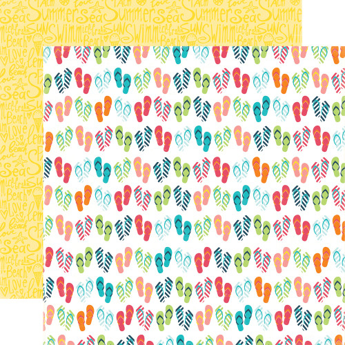Summer Party Collection Flip Flops 12 x 12 Double-Sided Scrapbook Paper by Echo Park Paper