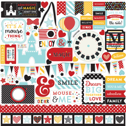 Magical Adventure Collection Elements  12 x 12 Scrapbook Sticker Sheet by Echo Park Paper