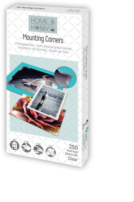 """Home & Hobby Collection Clear 1.25"""" x 32mm Mounting Corners by 3L - 250 Pieces"""
