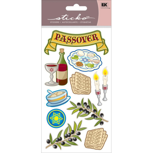 Passover Collection Passover Tradition 4 x 8 Jewish Glitter Scrapbook Embellishment by Sticko