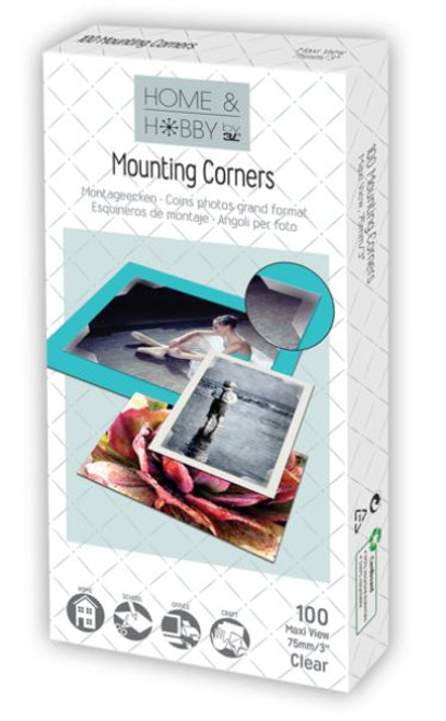 """Home & Hobby Collection Clear 3"""" x 75mm Maxi View Mounting Corners by 3L -100 Pieces"""