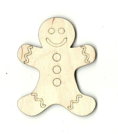 "Gingerbread Man 2"" Laser Cut Wood Embellishment by The Wood Shape Store"