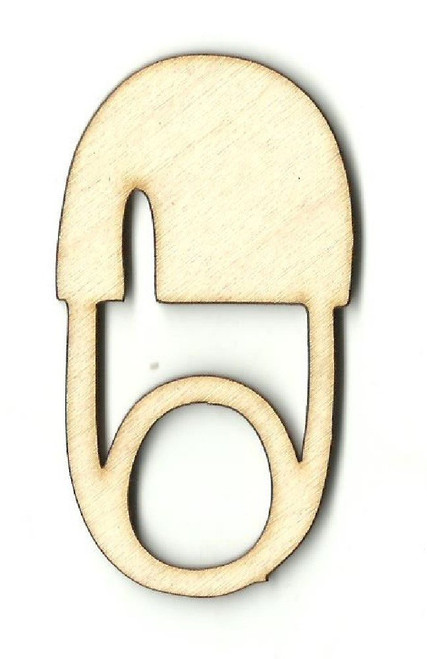 "Baby Safety Diaper Pin 2"" Laser Cut Wood Embellishment by The Wood Shape Store"