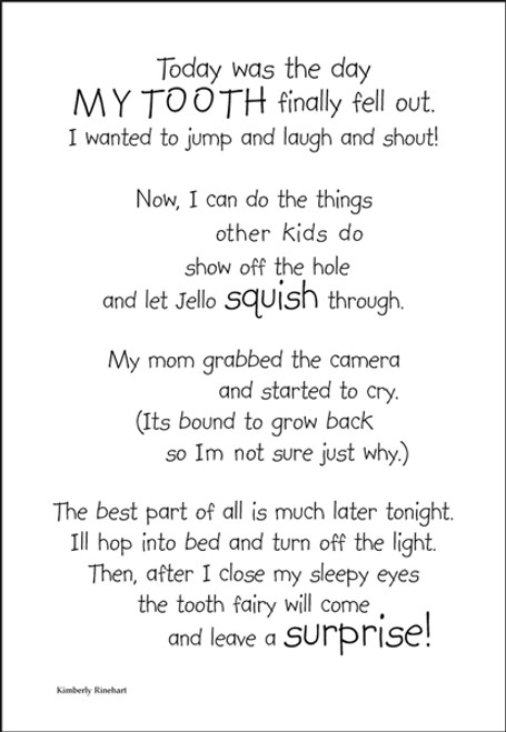 A Poem For A Page Collection Tooth Fairy 5 x 7 Scrapbook Sticker Sheet by It Takes Two
