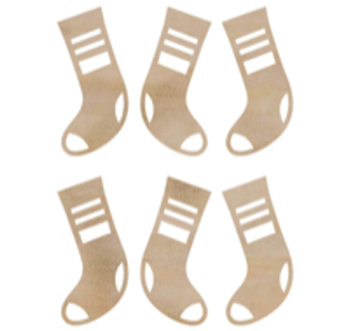 Wooden Flourishes Collection Mini Stockings Scrapbook Embellishments by Kaisercraft