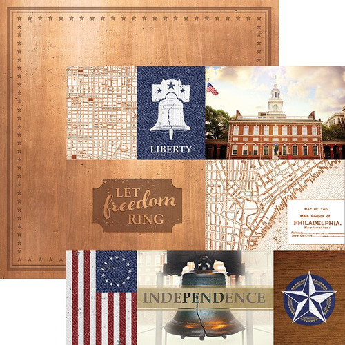 Let Freedom Ring Collection Philadelphia Tags 12 x 12 Double-Sided Scrapbook Paper by Paper House Productions
