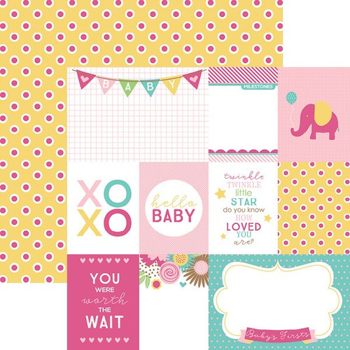 Hello Baby Collection Pink Girl Tags 12 x 12 Double-Sided Scrapbook Paper by Paper House Productions