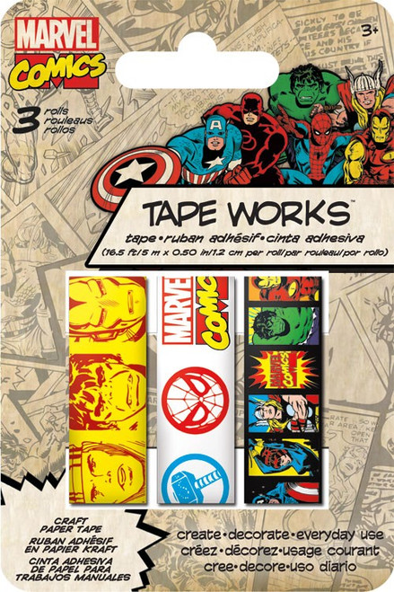 Marvel Comics Collection Self-Adhesive Tapeworks Decorative Tape Variety Pack by Sandylion