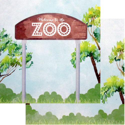 African Safari Collection Welcome To the Zoo 12 x 12 Double-Sided Scrapbook Paper by Scrapbook Customs