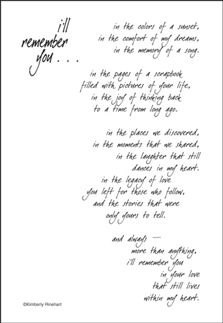 A Poem For A Page Collection I'll Remember You 5 x 7 Scrapbook Sticker Sheet by It Takes Two