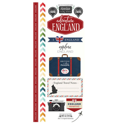 Travel Adventure Collection England  Adventure 6 x 12 Scrapbook Sticker Sheet by Scrapbook Customs