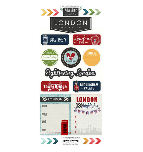 Travel Adventure Collection London, England  Adventure 6 x 12 Scrapbook Sticker Sheet by Scrapbook Customs