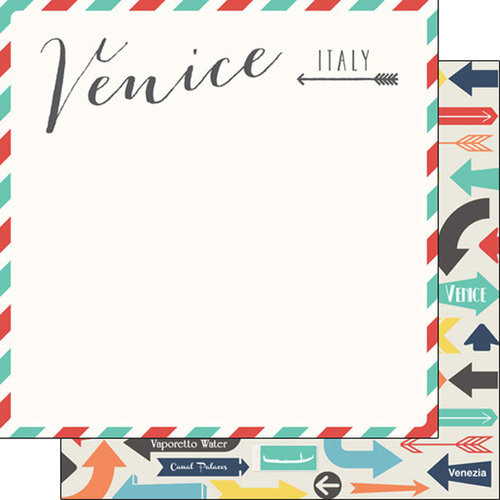 Travel Memories Collection Venice Air Mail 12 x 12 Double-Sided Scrapbook Paper by Scrapbook Customs