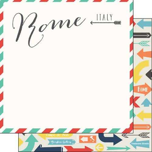 Travel Memories Collection Rome Air Mail 12 x 12 Double-Sided Scrapbook Paper by Scrapbook Customs