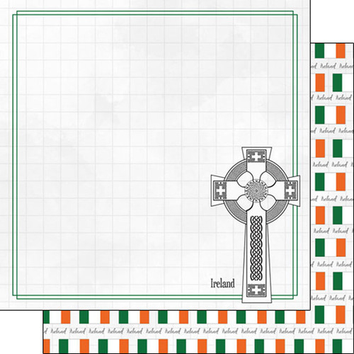 Travel Adventure Collection Celtic Cross 12 x 12 Double-Sided Scrapbook Paper by Scrapbook Customs