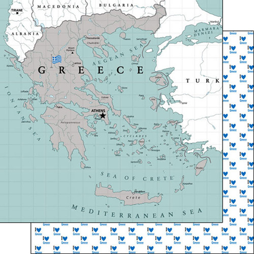 Travel Adventure Collection Greece Map 12 x 12 Double-Sided Scrapbook Paper by Scrapbook Customs