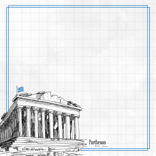 Travel Adventure Collection Greece Parthenon 12 x 12 Double-Sided Scrapbook Paper by Scrapbook Customs