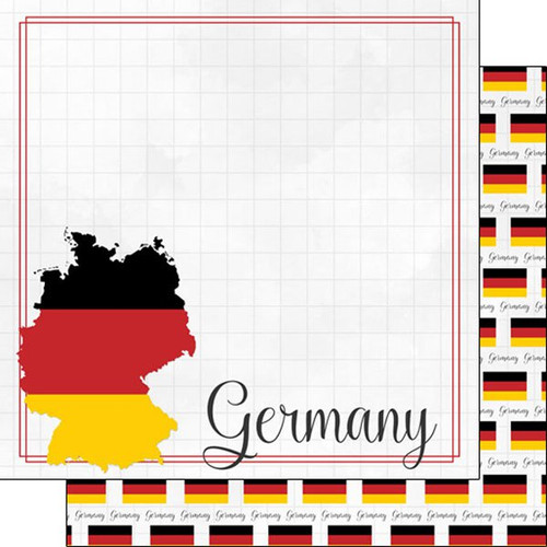 Travel Adventure Collection Germany Border 12 x 12 Double-Sided Scrapbook Paper by Scrapbook Customs
