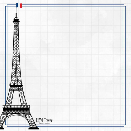 Travel Adventure Collection Eiffel Tower 12 x 12 Double-Sided Scrapbook Paper by Scrapbook Customs
