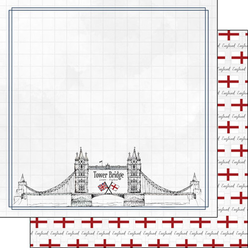 Travel Adventure Collection Tower Bridge 12 x 12 Double-Sided Scrapbook Paper by Scrapbook Customs