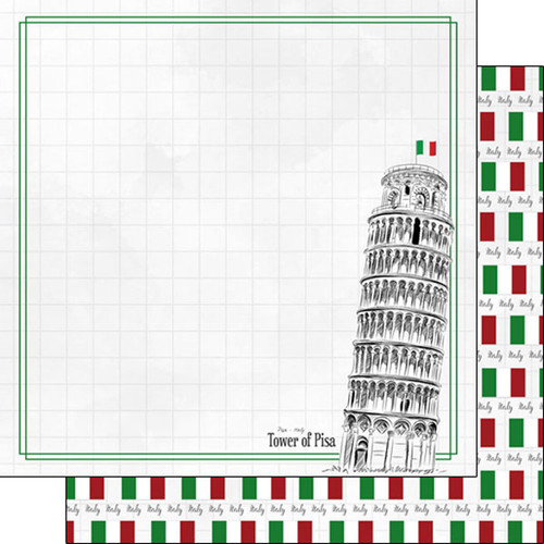 Travel Adventure Collection Tower of Pisa 12 x 12 Double-Sided Scrapbook Paper by Scrapbook Customs
