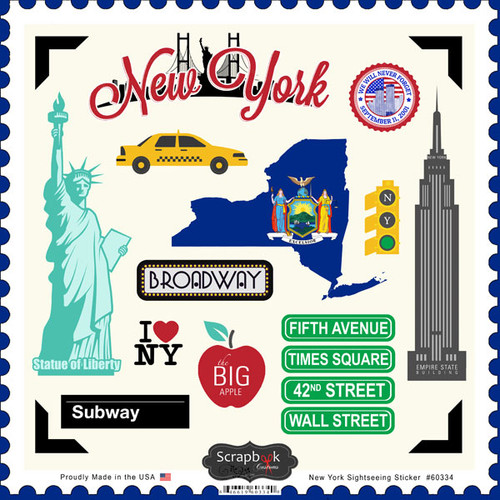 Sightseeing Collection New York 12 x 12 Scrapbook Sticker Sheet by Scrapbook Customs
