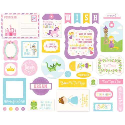 Perfect Princess Collection 5 x 5 Perfect Princess Ephemera Die Cut Cardstock Pieces by Echo Park Paper - 33 Pieces