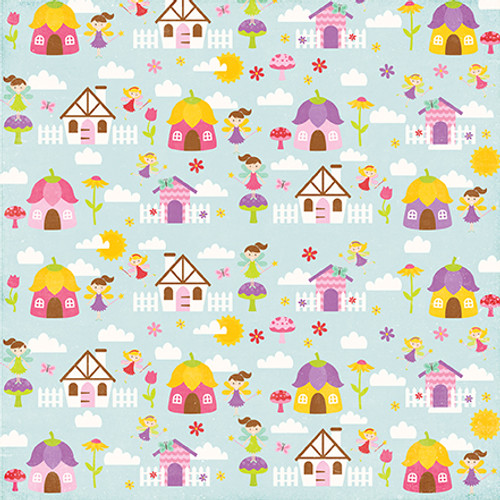 Perfect Princess Collection Fairy Village 12 x 12 Double-Sided Scrapbook Paper by Echo Park Paper