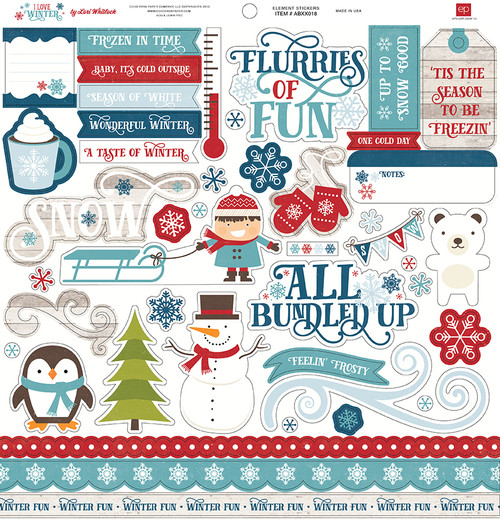 I Love Winter Collection 12 x 12 Element Scrapbook Sticker Sheet by Echo Park Paper