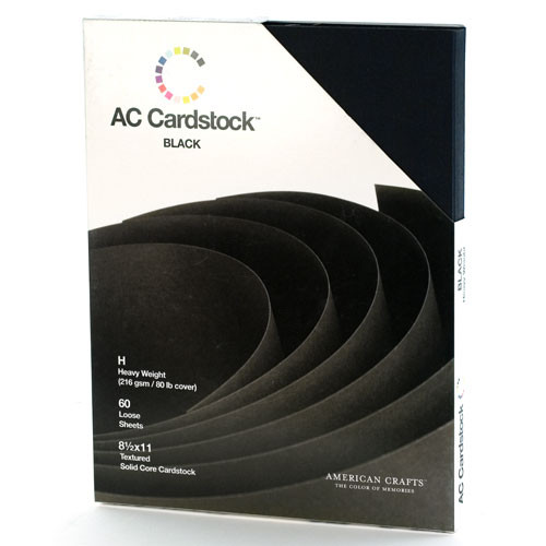 Color of Memories Collection AC Black 8.5 x 11 Heavy Weight 80 Lb. Textured Cardstock by American Crafts - 60 Sheets