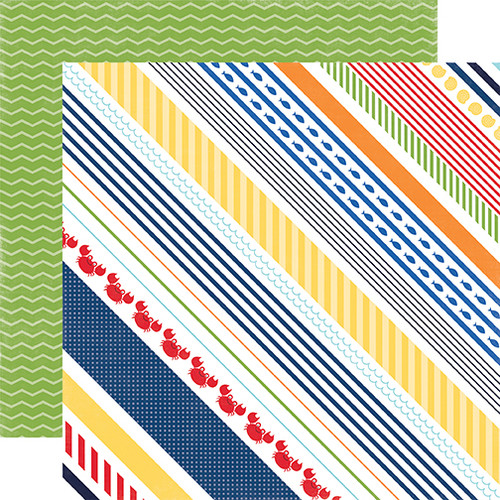 Under The Sea Collection Crabby Stripe 12 x 12 Double-Sided Scrapbook Paper by Echo Park Paper