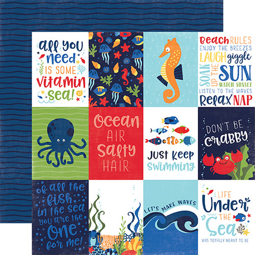 Under The Sea Collection 3 x 4 Journaling Cards 12 x 12 Double-Sided Scrapbook Paper by Echo Park Paper