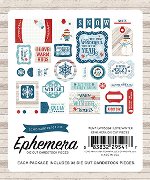 I Love Winter Collection Ephemera Die Cut Scrapbook Cardstock Pieces by Echo Park Paper