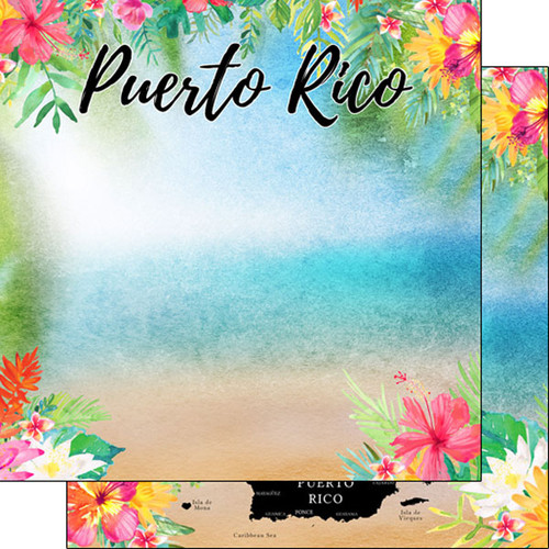 Getaway Collection Puerto Rico 12 x 12 Double-Sided Scrapbook Paper by Scrapbook Customs